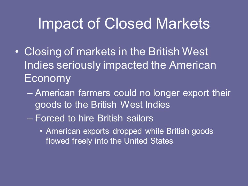 Impact of Closed Markets