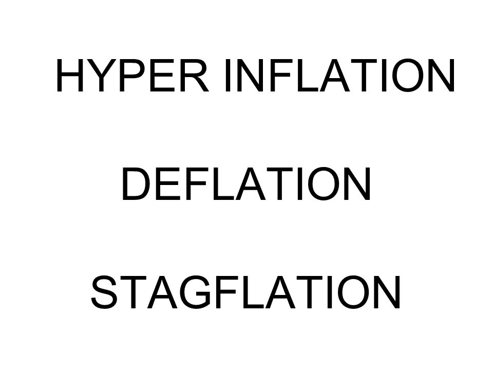 HYPER INFLATION DEFLATION STAGFLATION