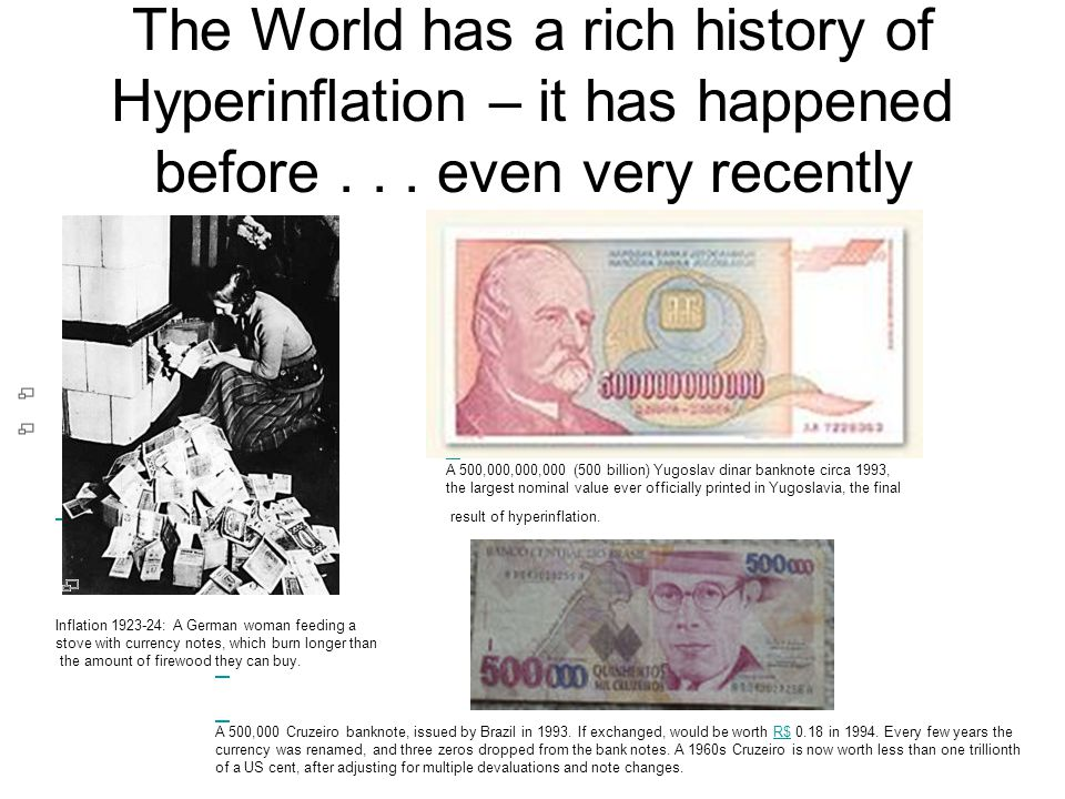 The World has a rich history of Hyperinflation – it has happened before . . . even very recently