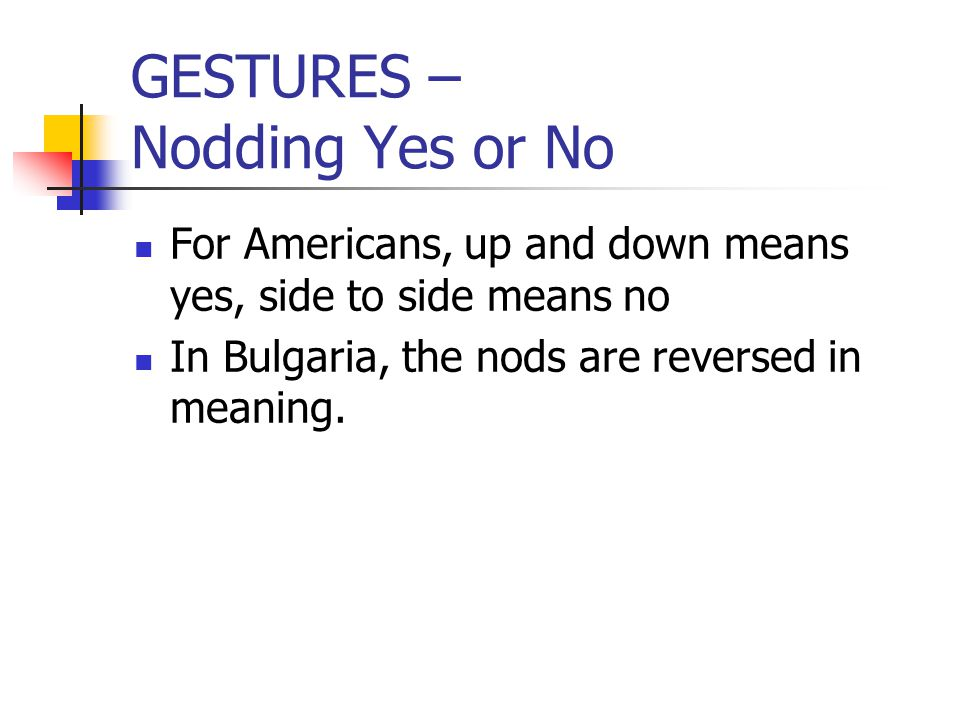 GESTURES – Nodding Yes or No