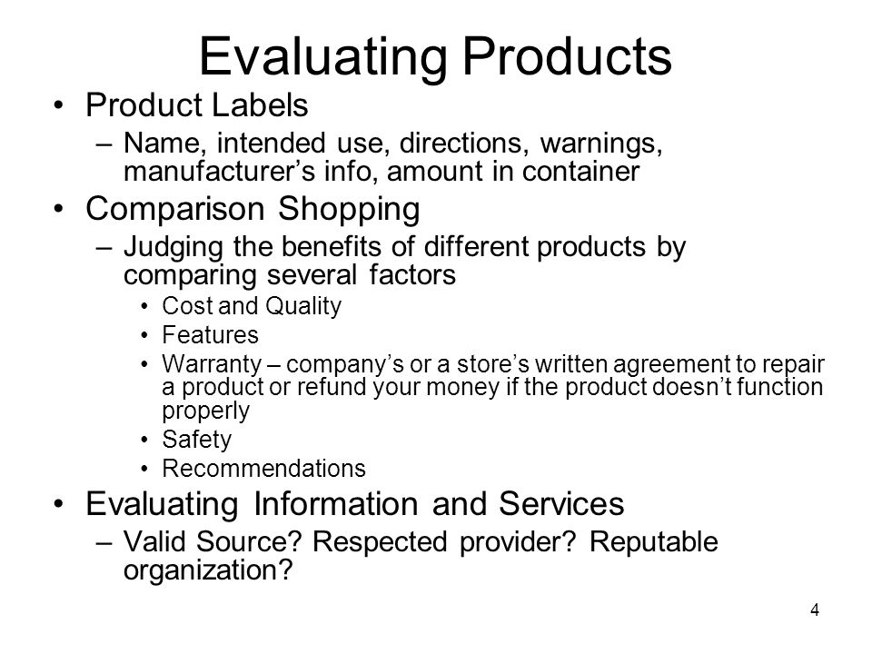 Evaluating Products Product Labels Comparison Shopping