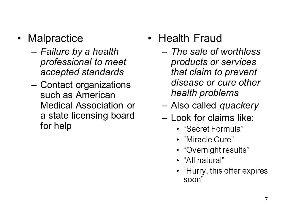 Malpractice Health Fraud