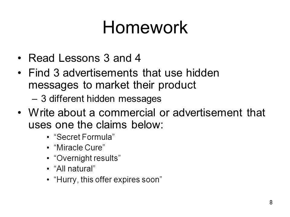 Homework Read Lessons 3 and 4