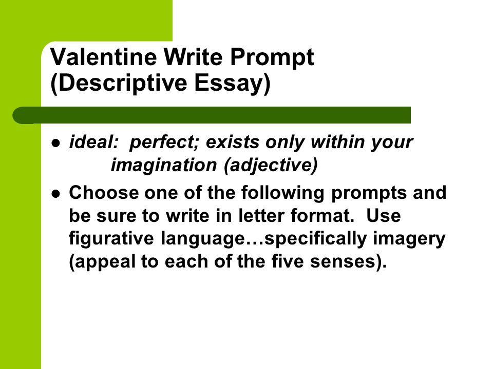 my perfect place essay Writers use the descriptive essay to create a vivid picture of a person, place, or thing unlike a narrative essay, which reveals meaning through a personal story, the purpose of a descriptive essay is to reveal the meaning of a subject through detailed, sensory observation.