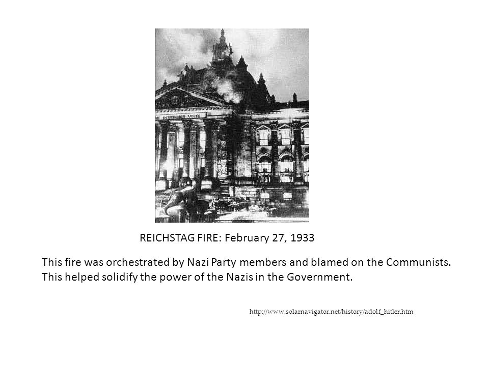 REICHSTAG FIRE: February 27, 1933