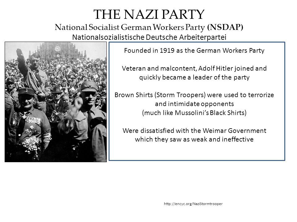THE NAZI PARTY National Socialist German Workers Party (NSDAP)
