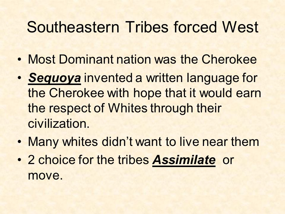 Southeastern Tribes forced West