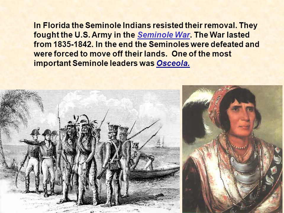 In Florida the Seminole Indians resisted their removal