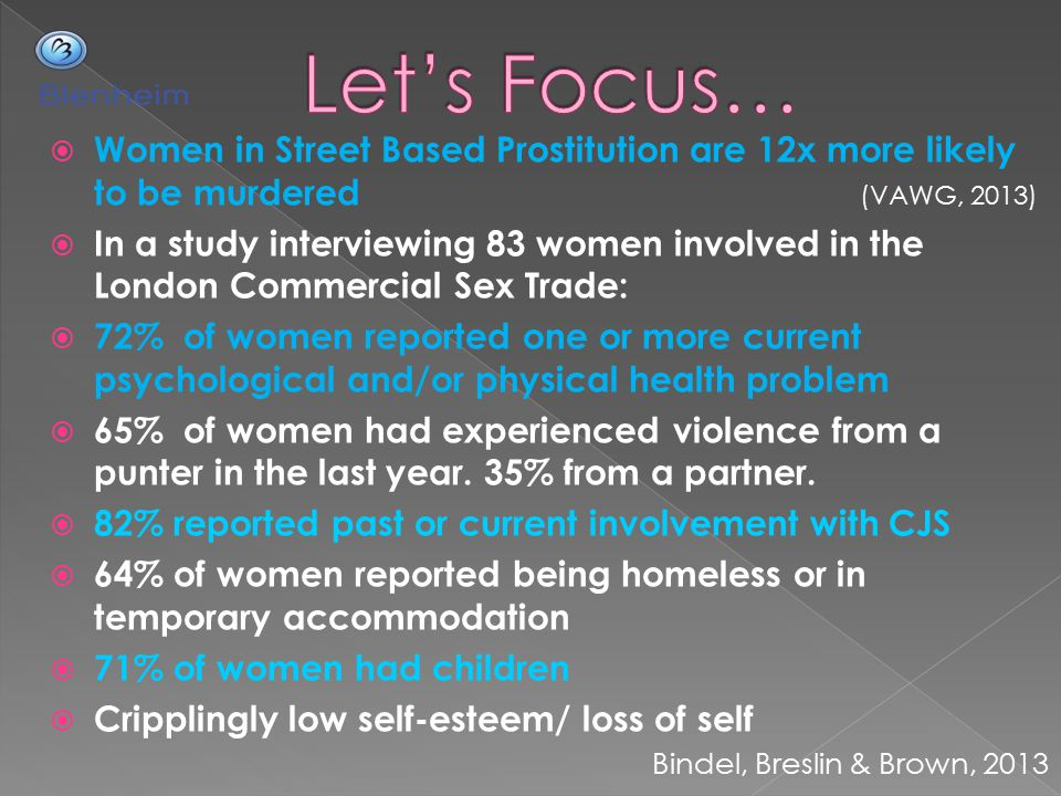 Let's Focus… Women in Street Based Prostitution are 12x more likely to be murdered (VAWG, 2013)