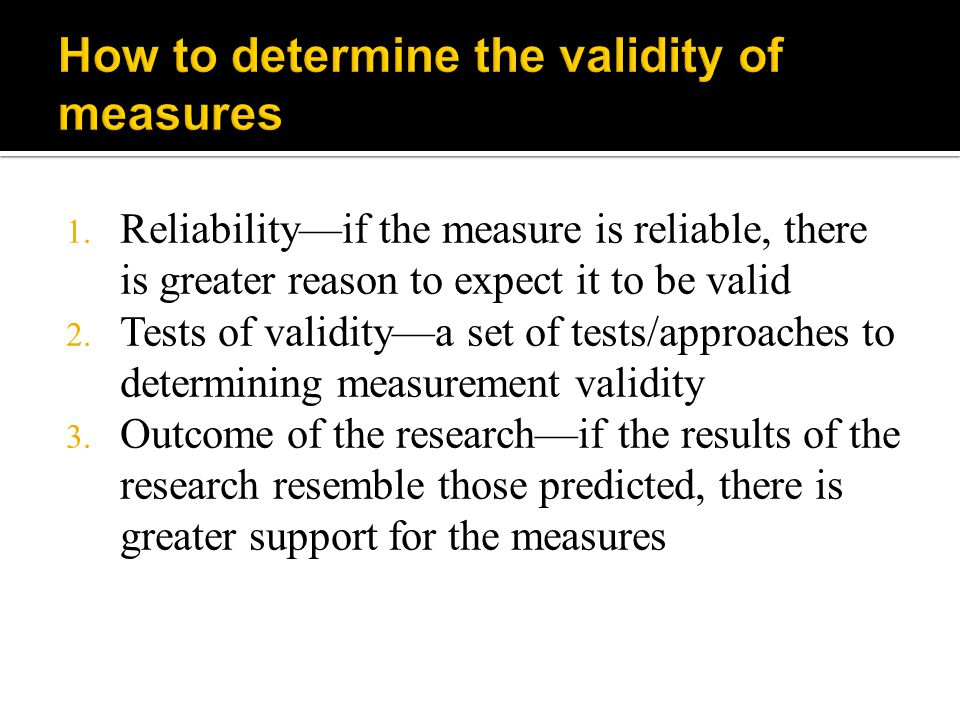 How to determine the validity of measures
