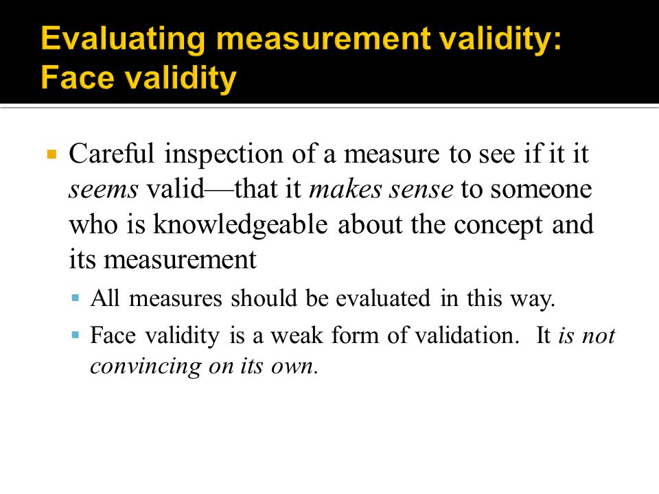 Evaluating measurement validity: Face validity