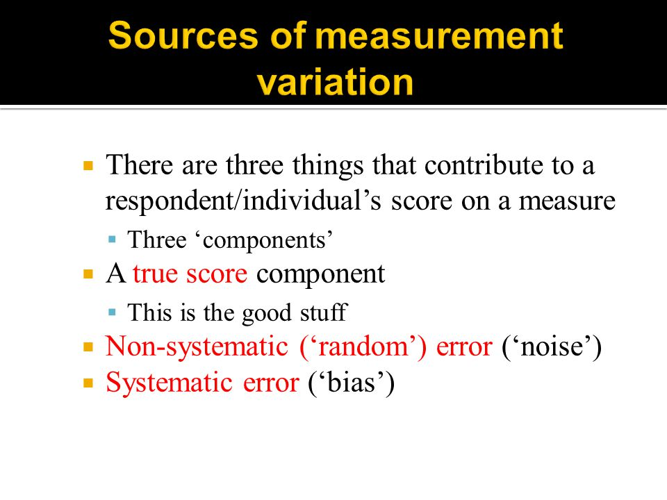 Sources of measurement variation