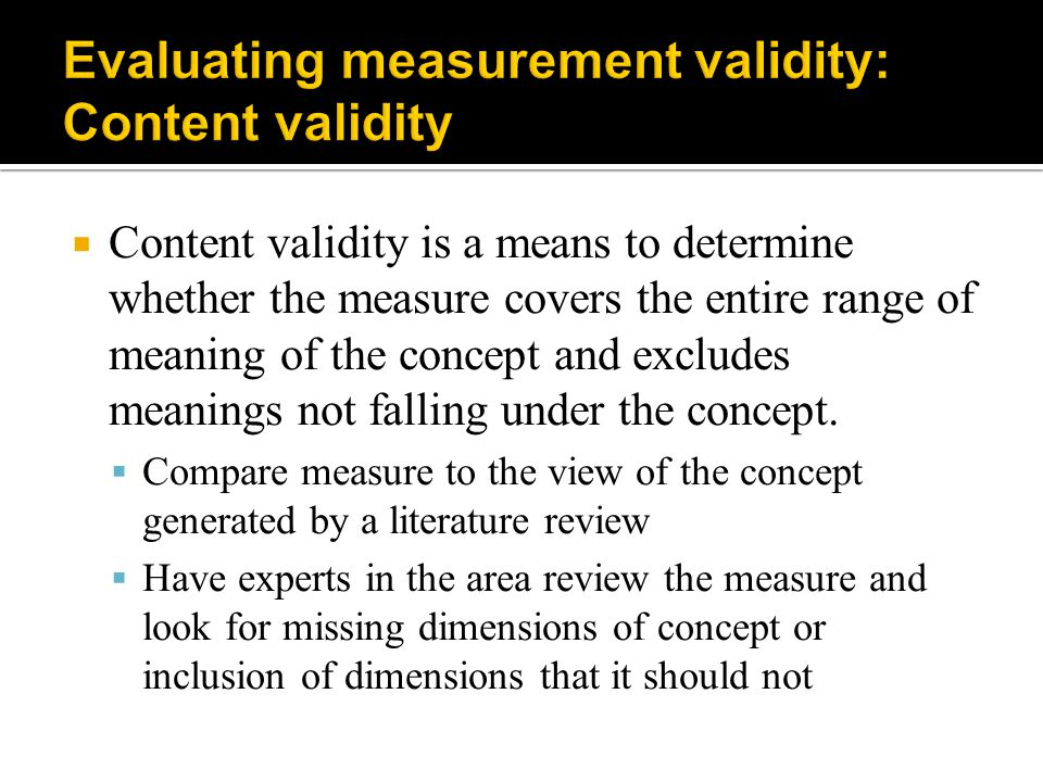Evaluating measurement validity: Content validity