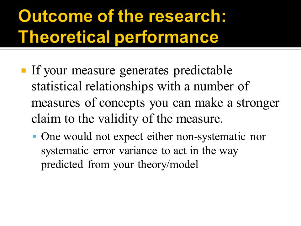 Outcome of the research: Theoretical performance