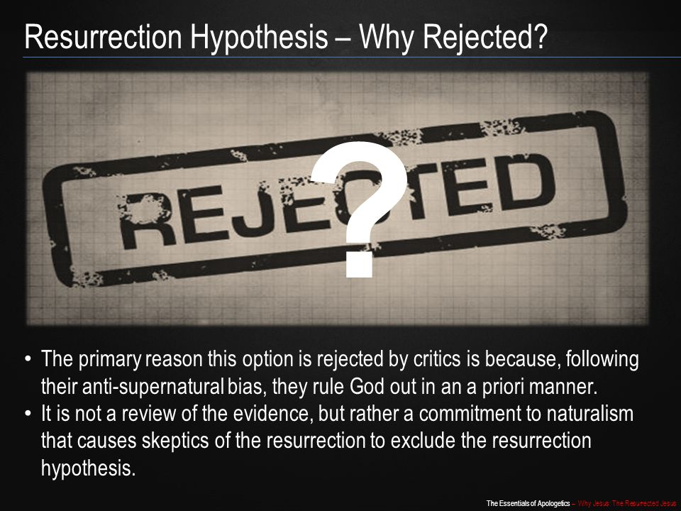 Resurrection Hypothesis – Why Rejected