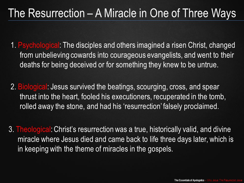 The Resurrection – A Miracle in One of Three Ways