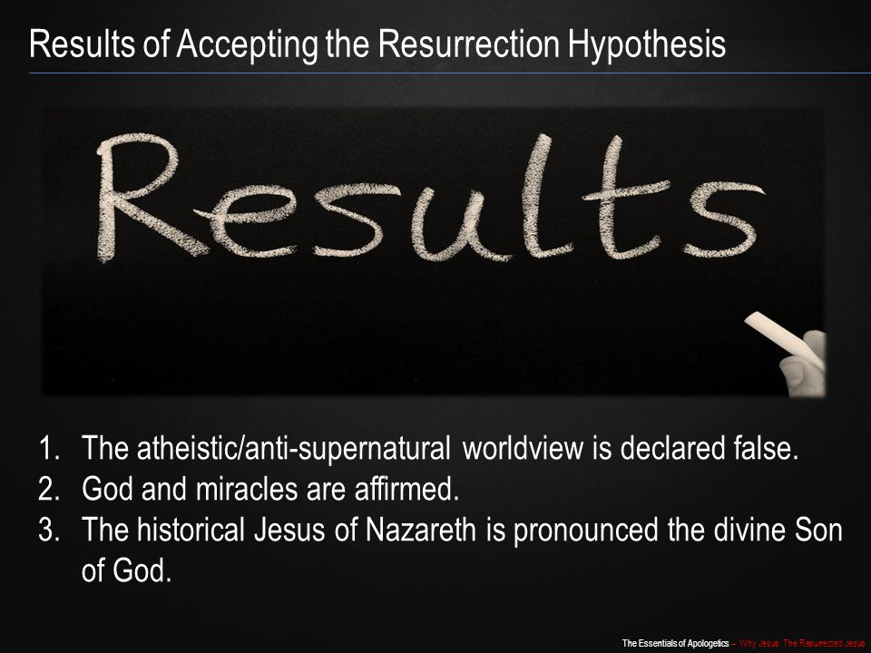 Results of Accepting the Resurrection Hypothesis