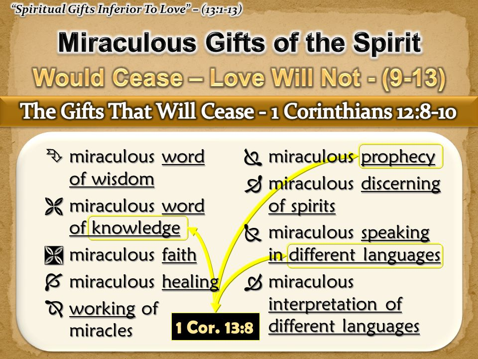 Miraculous Gifts of the Spirit Would Cease – Love Will Not - (9-13)