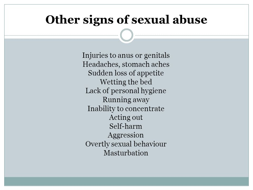 Other signs of sexual abuse
