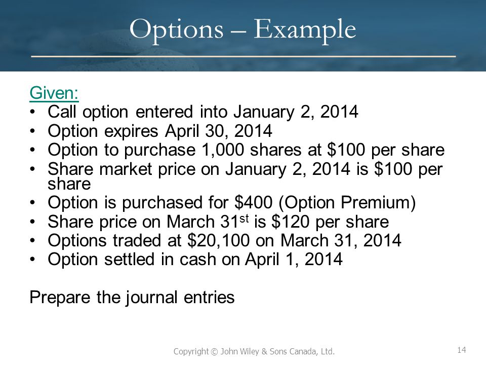 Options – Example Given: Call option entered into January 2, 2014