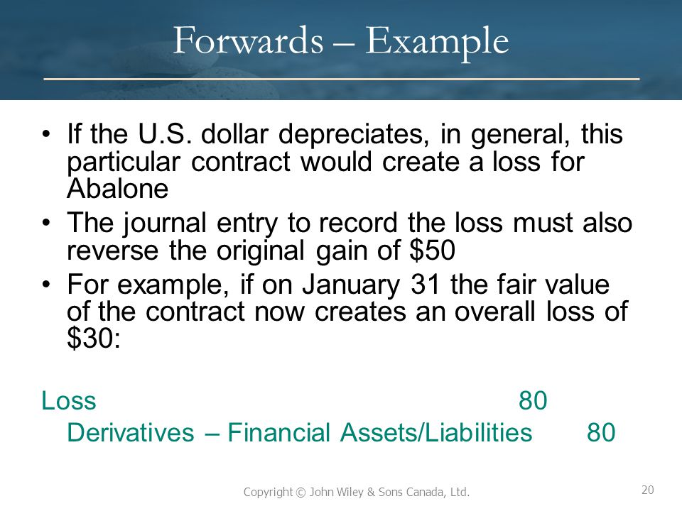Forwards – Example If the U.S. dollar depreciates, in general, this particular contract would create a loss for Abalone.