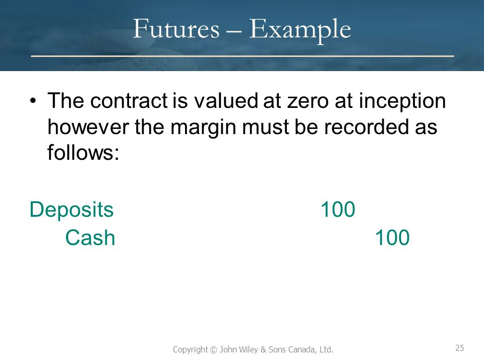 Futures – Example The contract is valued at zero at inception however the margin must be recorded as follows: