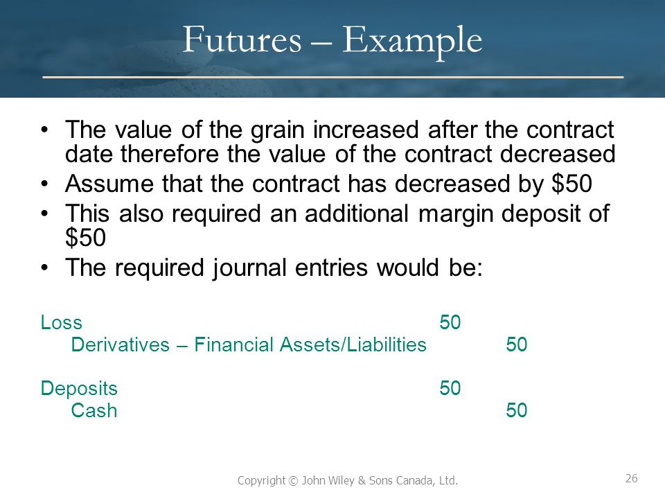 Futures – Example The value of the grain increased after the contract date therefore the value of the contract decreased.