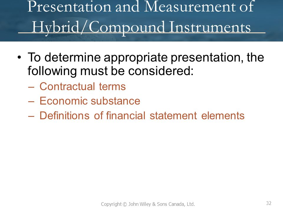 Presentation and Measurement of Hybrid/Compound Instruments