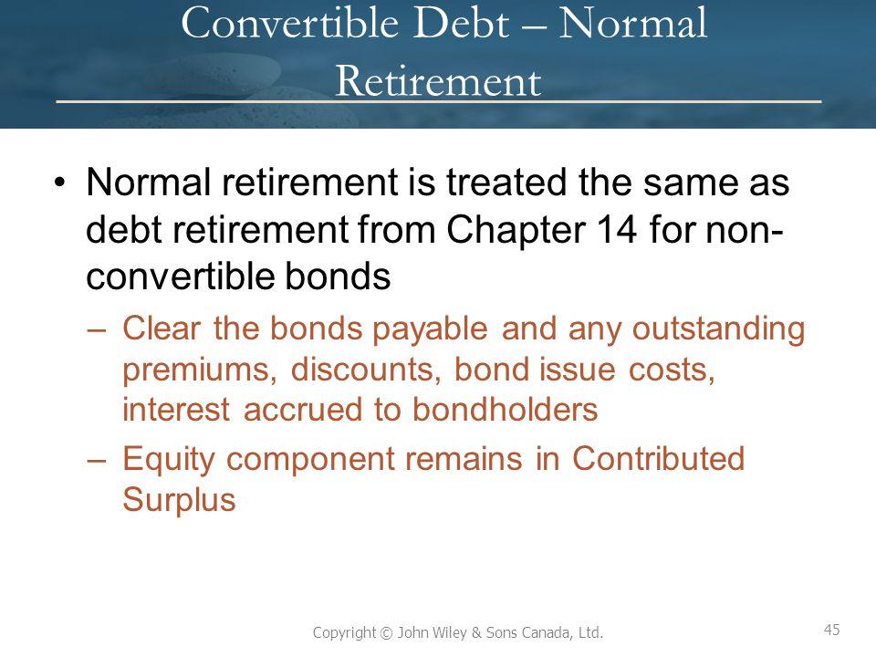 Convertible Debt – Normal Retirement