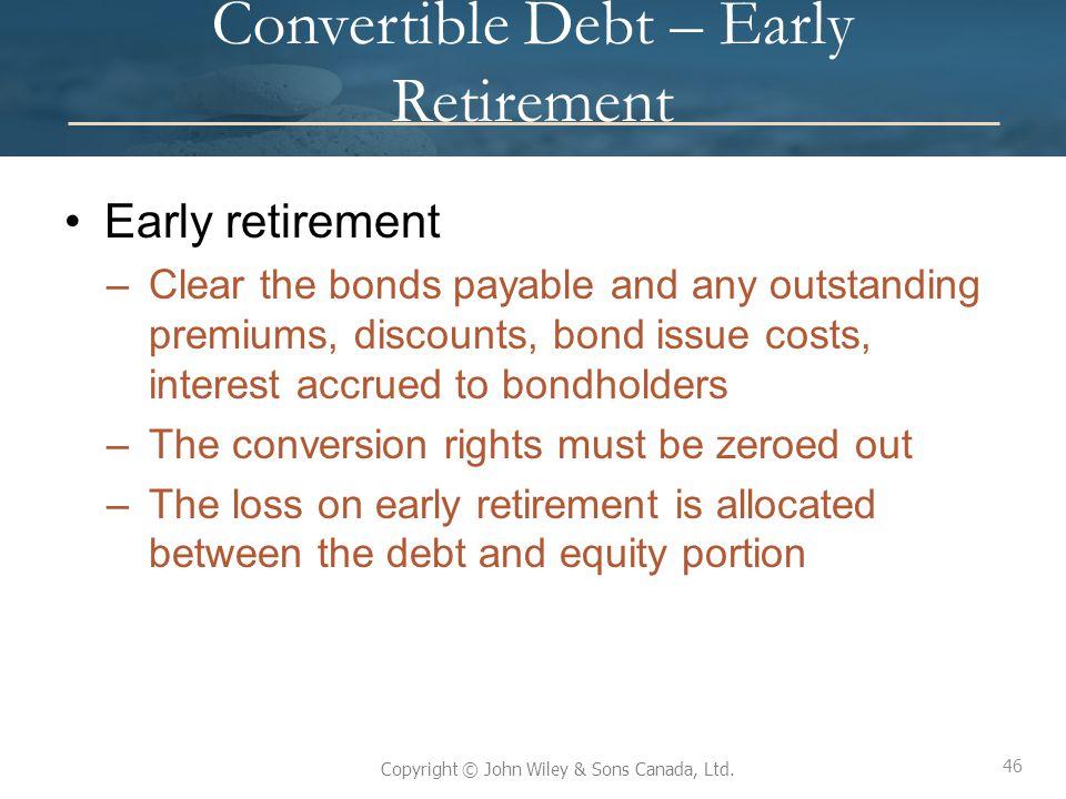 Convertible Debt – Early Retirement