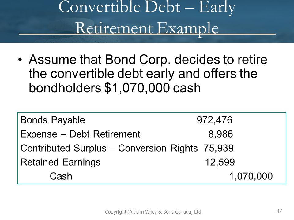 Convertible Debt – Early Retirement Example