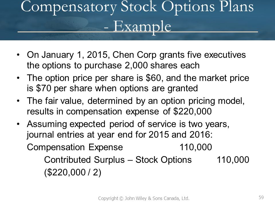 Compensatory Stock Options Plans - Example