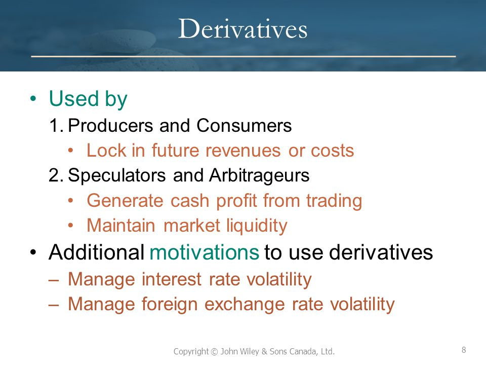Derivatives Used by Additional motivations to use derivatives