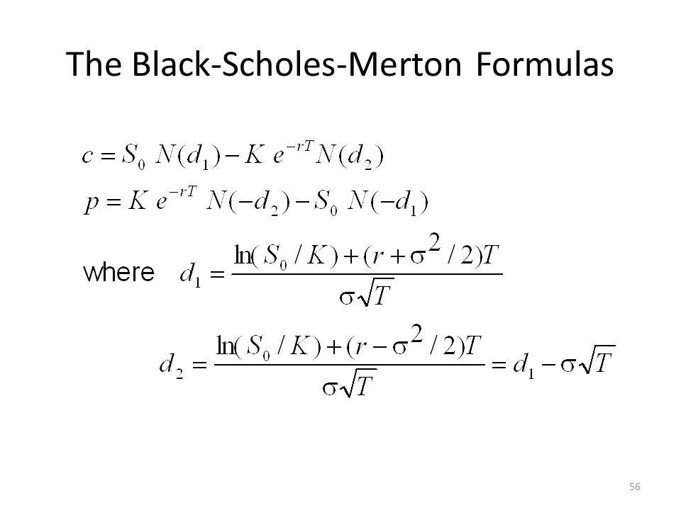 The Black-Scholes-Merton Formulas