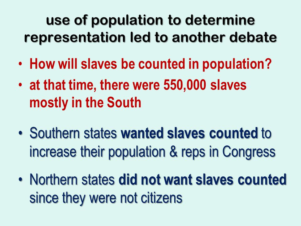 use of population to determine representation led to another debate