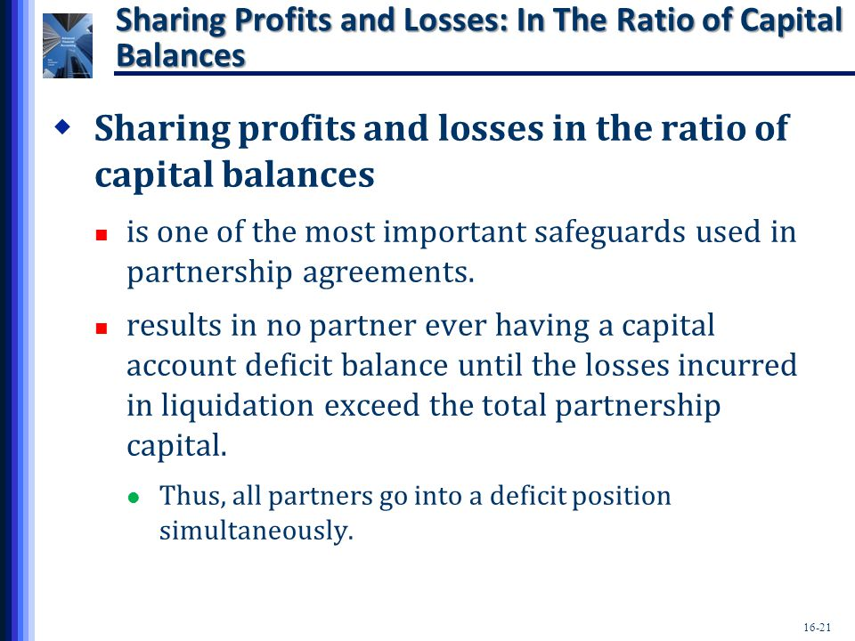 Sharing Profits and Losses: In The Ratio of Capital Balances