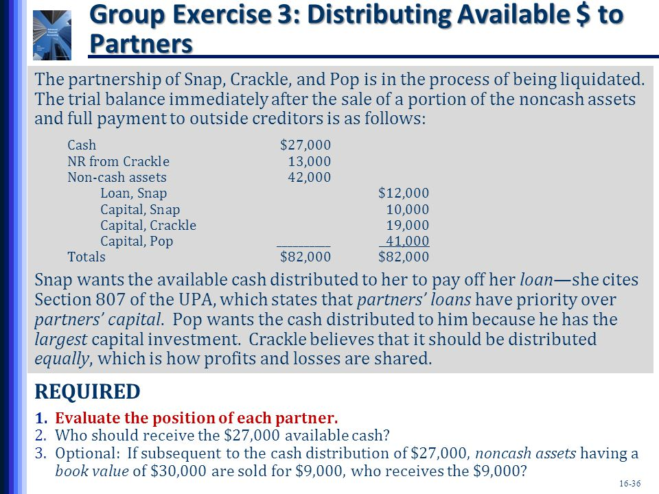 Group Exercise 3: Distributing Available $ to Partners