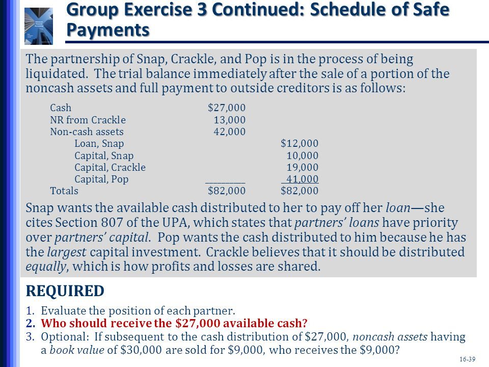 Group Exercise 3 Continued: Schedule of Safe Payments