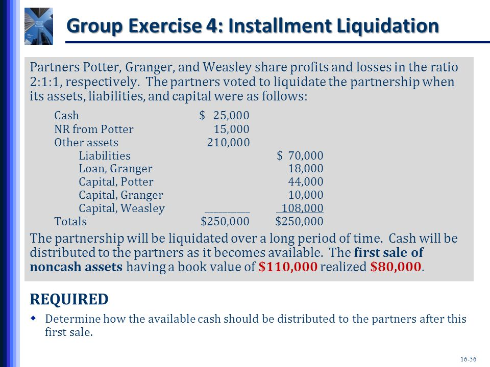 Group Exercise 4: Installment Liquidation