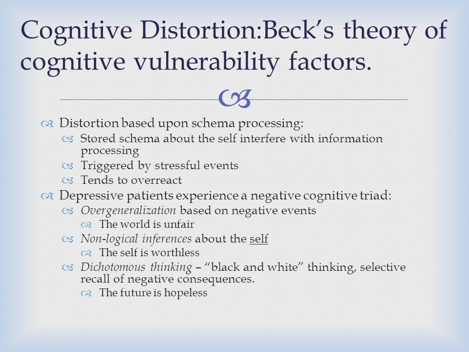 Cognitive Distortion:Beck's theory of cognitive vulnerability factors.