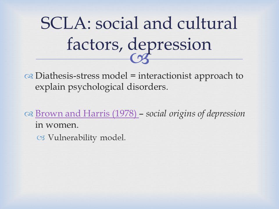 SCLA: social and cultural factors, depression