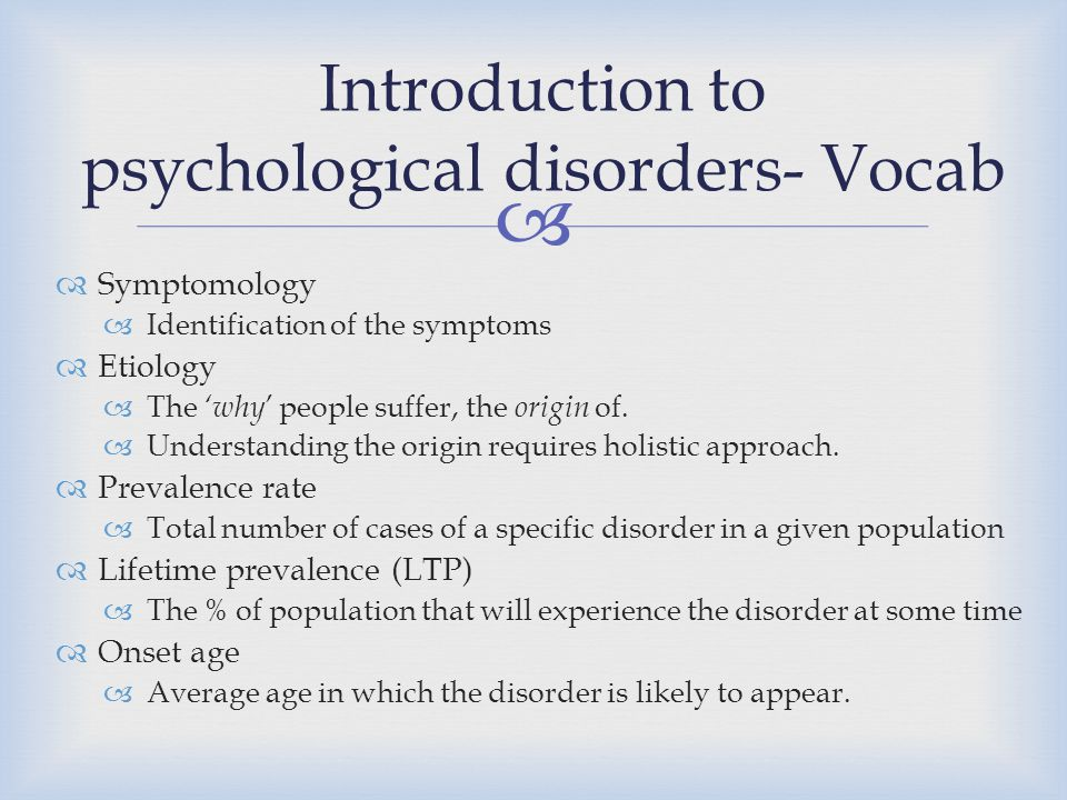 Introduction to psychological disorders- Vocab
