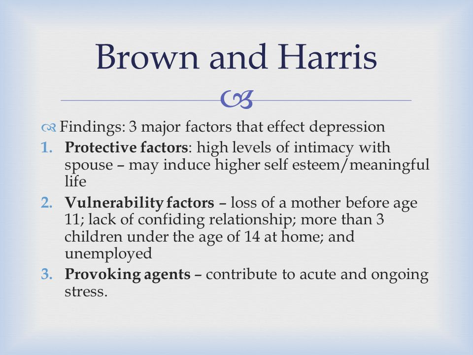 Brown and Harris Findings: 3 major factors that effect depression