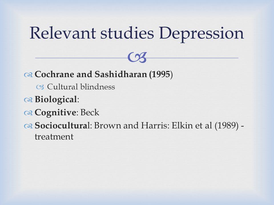 Relevant studies Depression