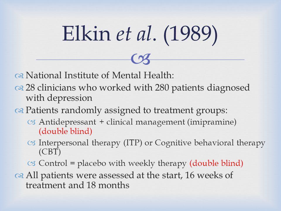Elkin et al. (1989) National Institute of Mental Health: