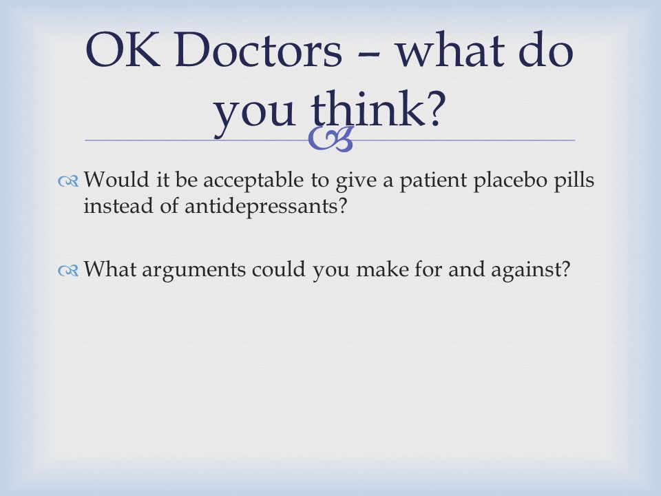 OK Doctors – what do you think
