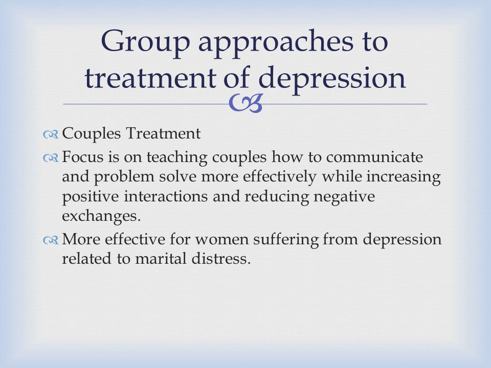 Group approaches to treatment of depression