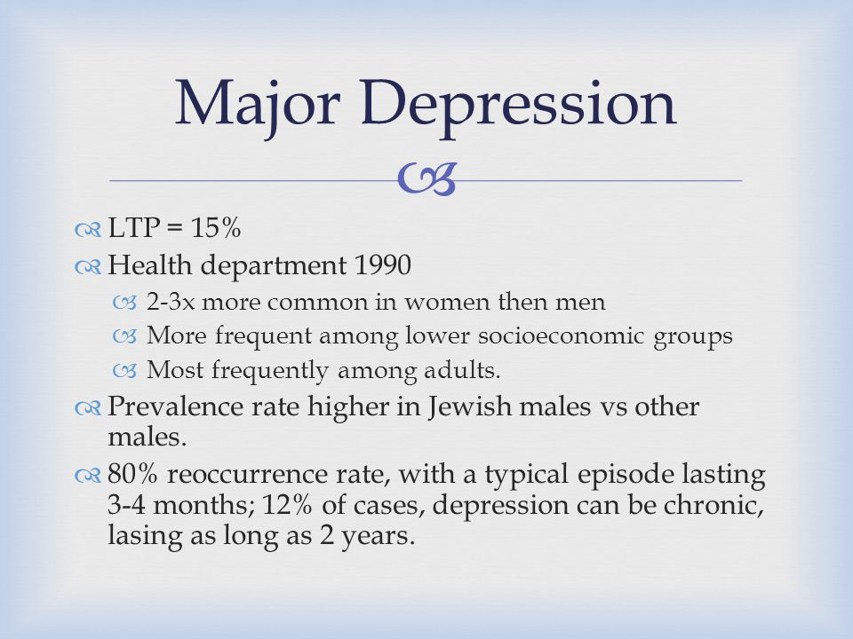 the causes of higher depression rates among women Lesbians and other women  higher rates of depression or depressive symptoms than same-sex attracted people 6 the prevalence of depression and anxiety among.