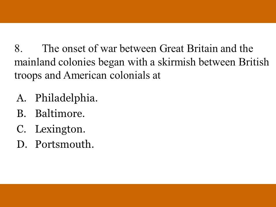 A. Philadelphia. B. Baltimore. C. Lexington. D. Portsmouth.