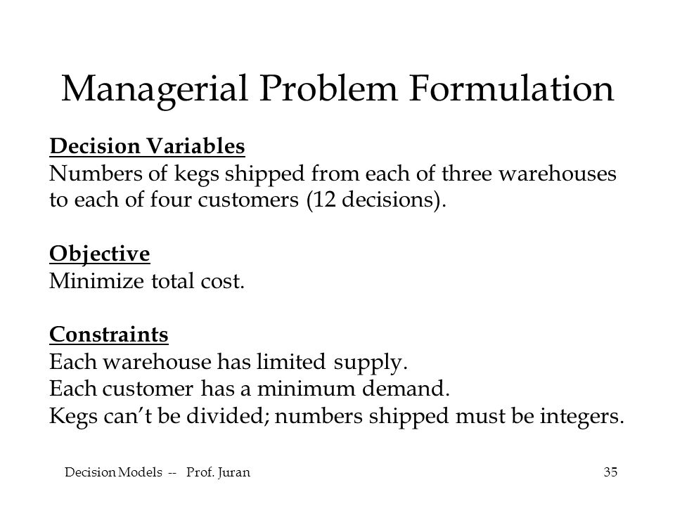 Managerial Problem Formulation